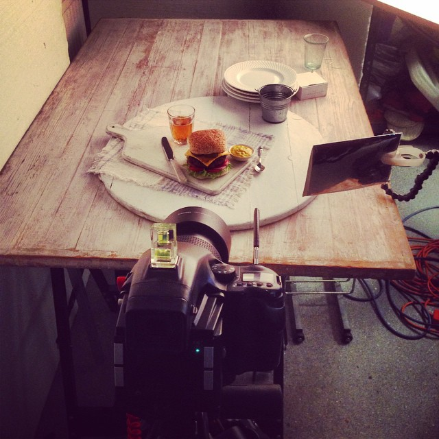 Today's shoot with @tinyteaps , @the_fmp and @food_stylist_  All American Burger ready for it's close up