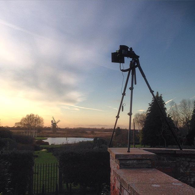 Camera positioned for last shot of the day #howhill #gardenphotography #norfolk #sunset #windmill