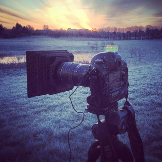 Behind the camera for a frosty Sunrise #gardenphotography #behindthecamera #sunrise #frosty