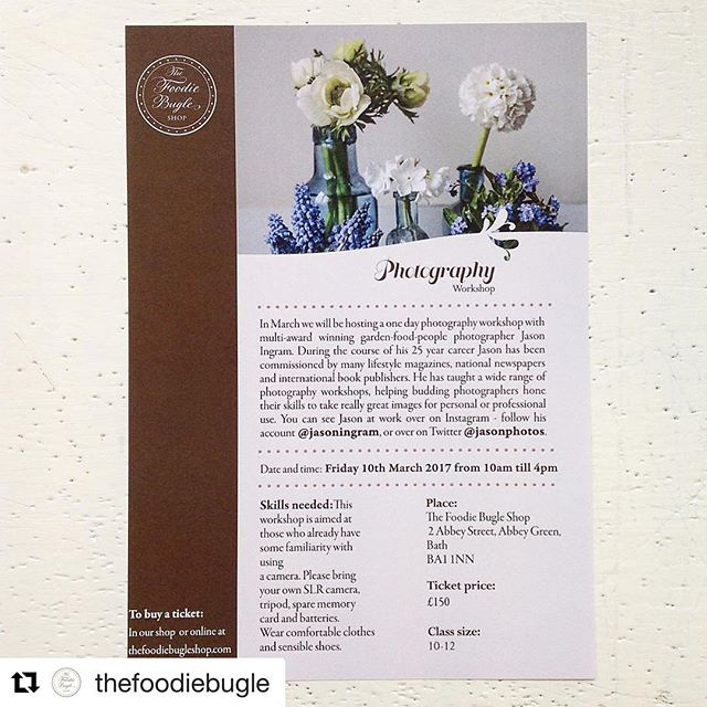 #Repost @thefoodiebugle with @repostapp・・・Hello friends - we want to let you all know that next year we are going to be doing lots of workshops in our upstairs rooms here in our shop in Abbey Street  If you are interested in buying a ticket do look at www.thefoodiebugle.com as we will update the journal every week with new courses. Our photography course with @jasoningram is very popular - Jason has been commissioned by all the top magazines, newspapers, publishers and companies so this course will be filled with lots and lots of top tips. Our graphic design was done by our colleague Dina @yocarrot - as well as working in the shop full time she is also a graphic designer.