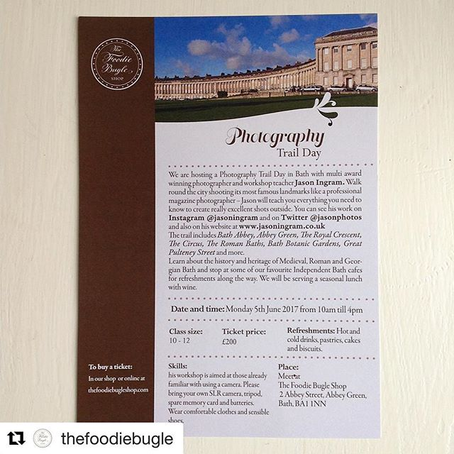 #Repost @thefoodiebugle with @repostapp・・・ Our photography trail around Bath is now on the website - we are going for a walk around Our beautiful city with multi award winning photographer @jasoningram so that you can learn how to shoot all the top landmarks like a professional magazine photographer! There will be breakfast and lunch by @thoughtfulbread bakery and lots of really interesting Bath history and heritage talks from me - if you want to buy a ticket head to www.thefoodiebugle.com and scroll away - lots of pages of workshops uploaded and more coming up too